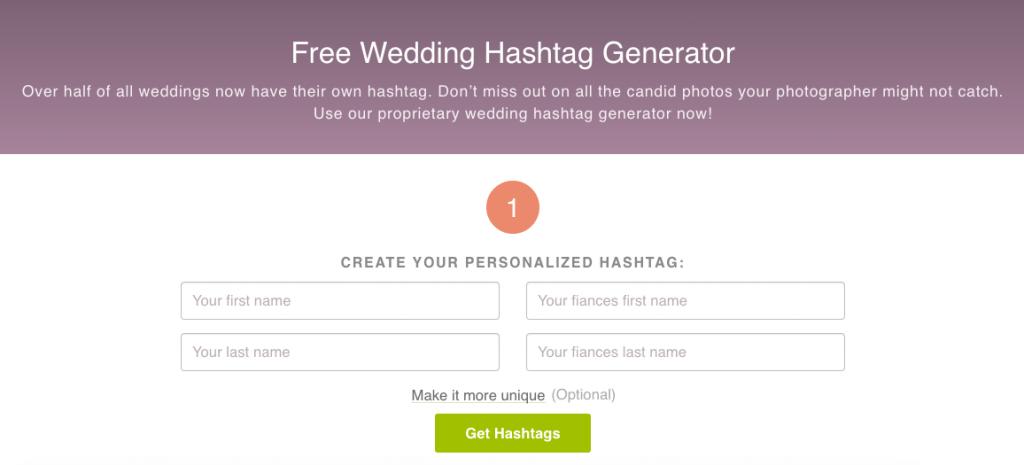ewedding hashtag generator