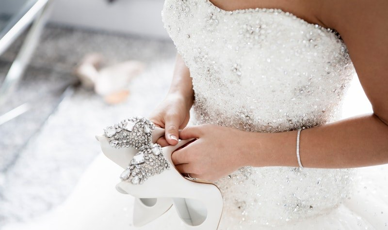 woman wearing wedding dress