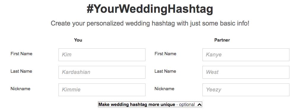wedding hashtag generator