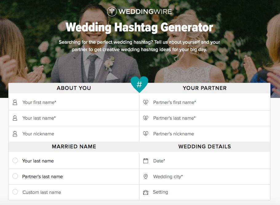wedding wire hashtag generator tool