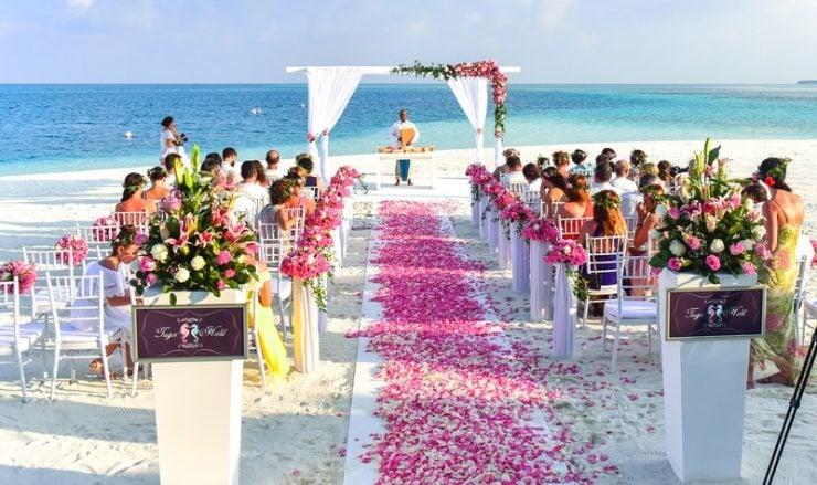 beach wedding reception