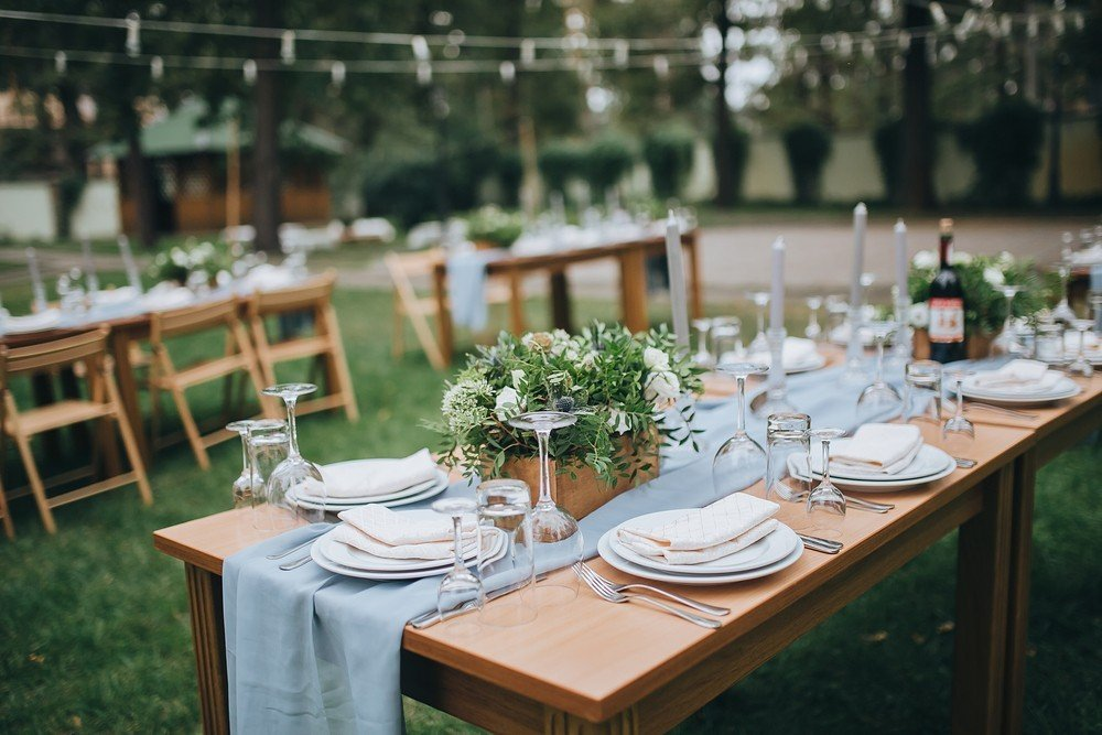 wedding table with runner