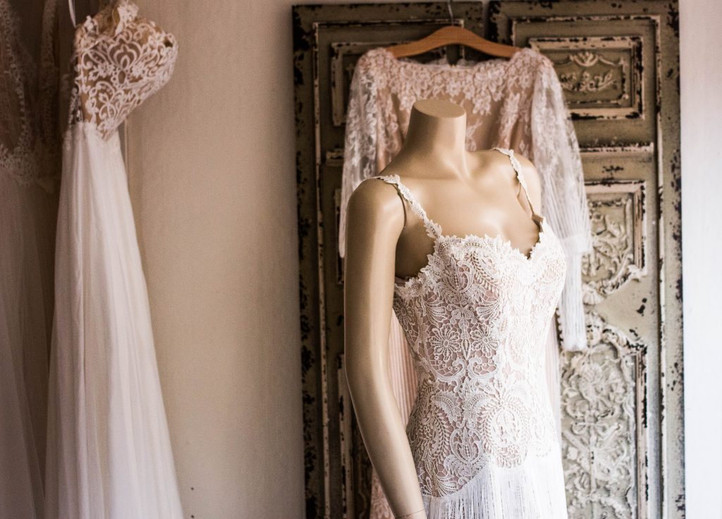 wedding gown stored