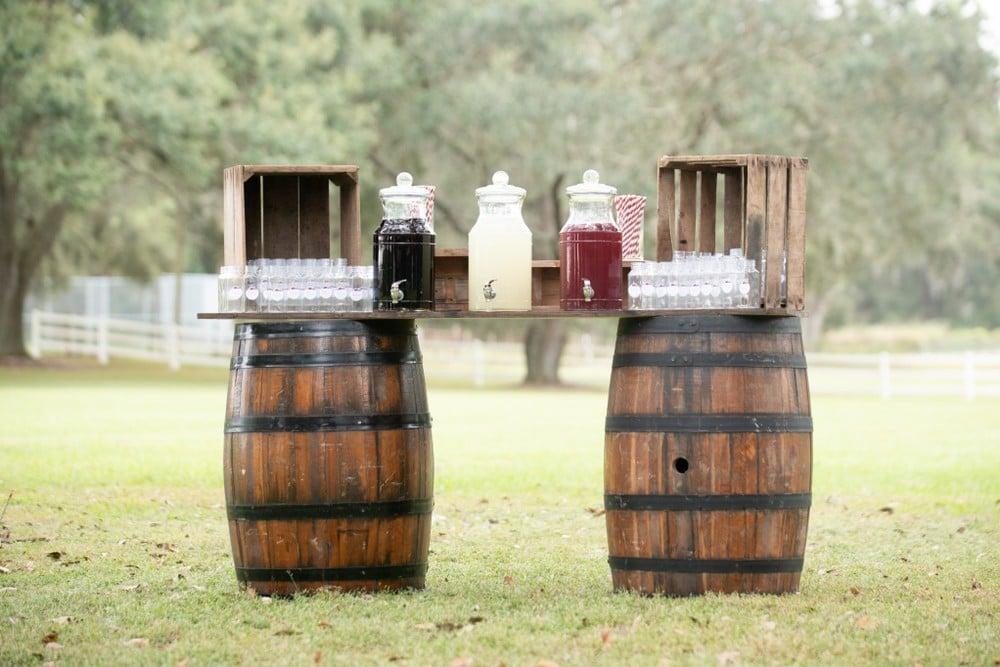 barrels holding drink dispensers