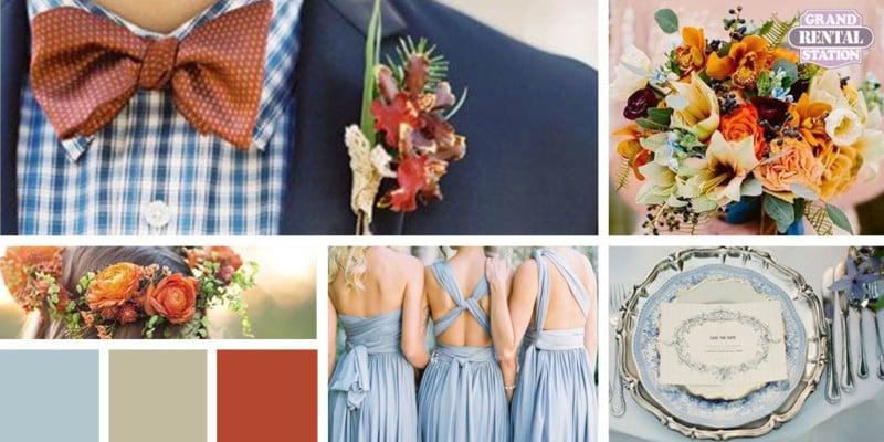 burnt orange and blue wedding