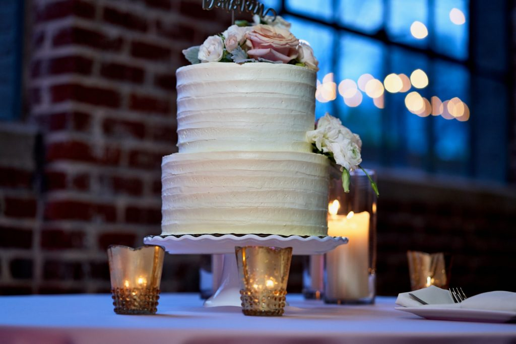 wedding cake with candles
