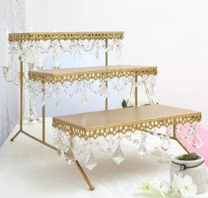 gold dessert display