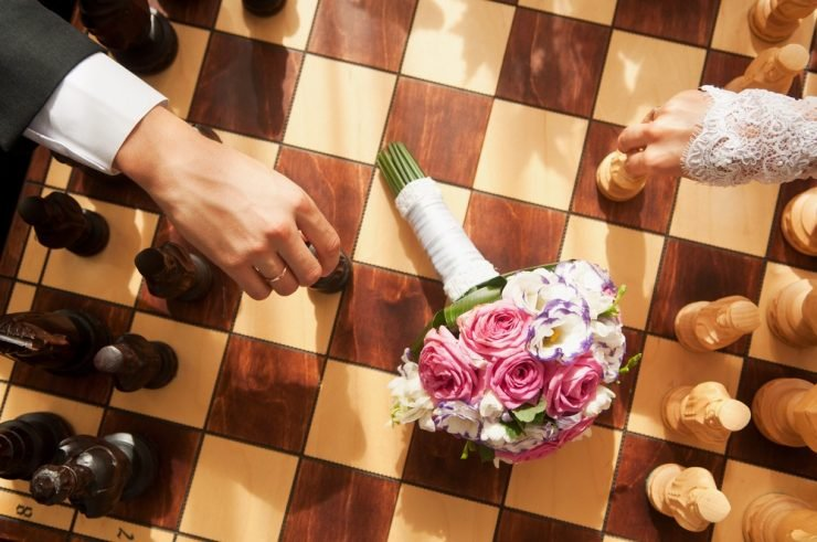 outdoor chess at wedding
