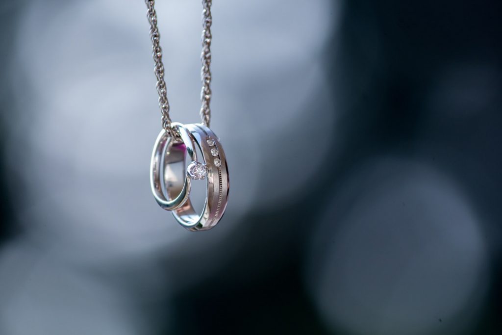 rings on necklace