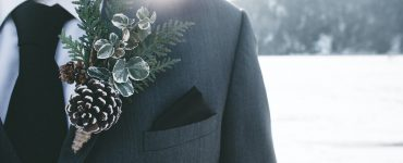 winter wedding groom