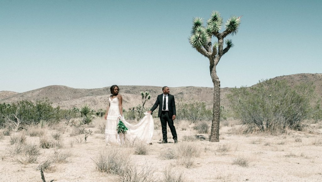 a couple during their desert rose wedding