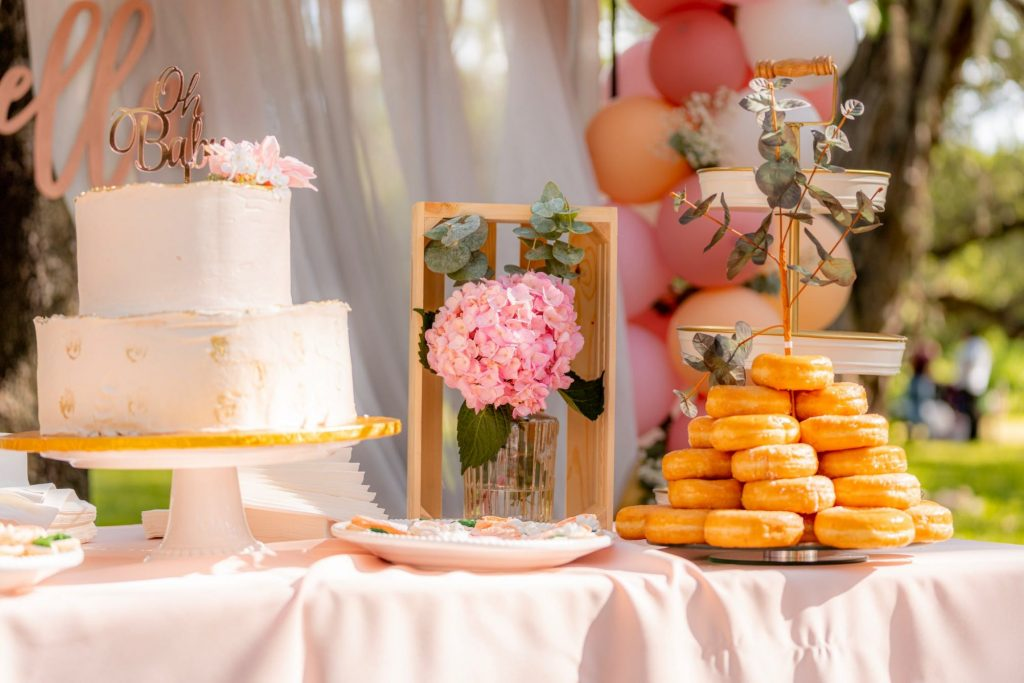 dessert table with custom wedding cake toppers