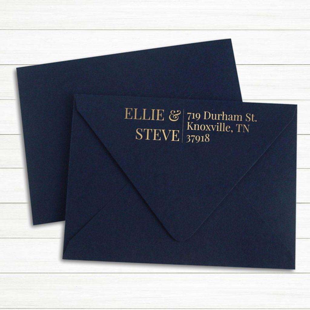 gold return address stamp