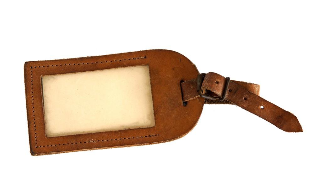 brown luggage tag