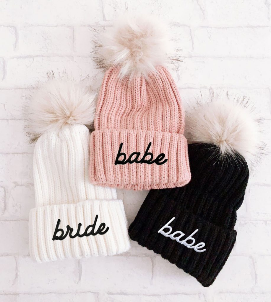 bride and babe beanies