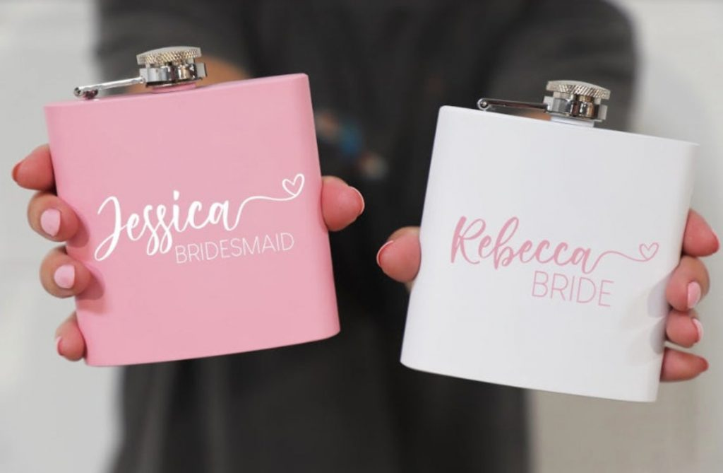 bride and bridesmaid flask