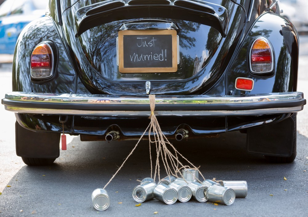 getaway car with cans