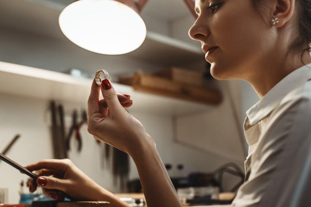 jeweler resizing a ring