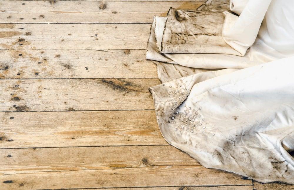 dirty wedding dress