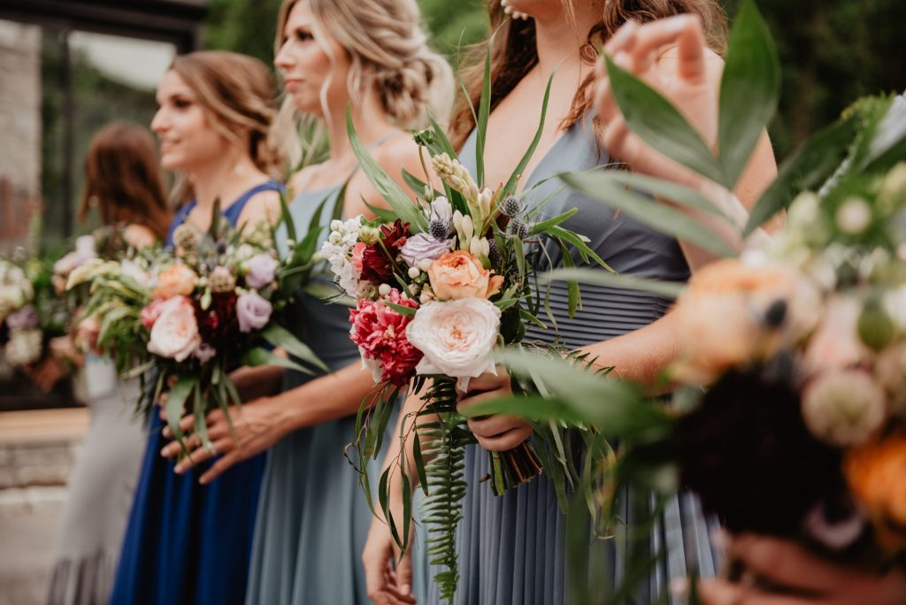 bridesmaid bouquets and dresses