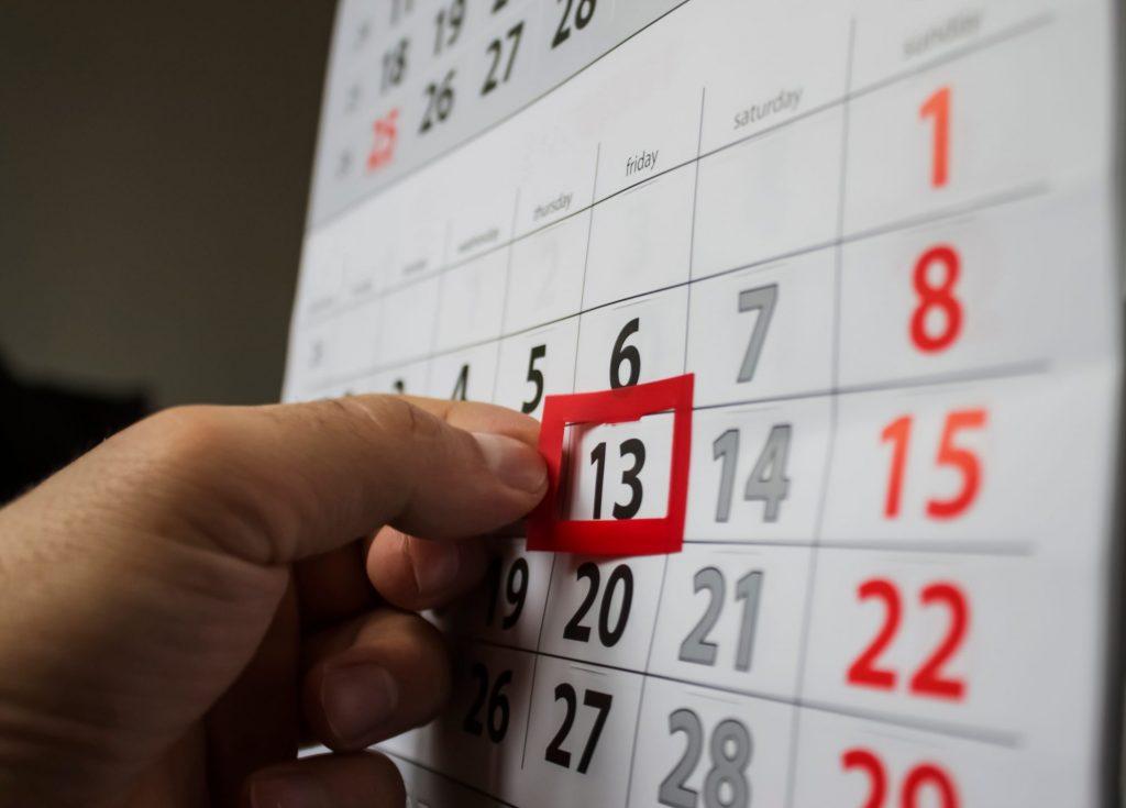 calendar with unlucky date