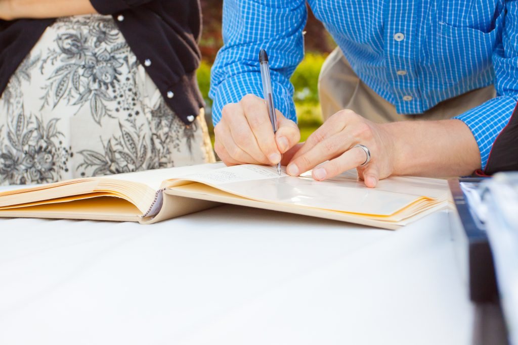 guest book writing