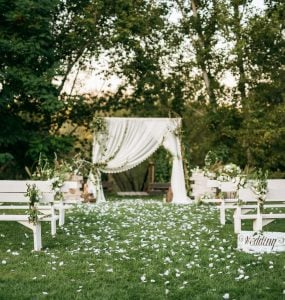 outdoor wedding venue in spring