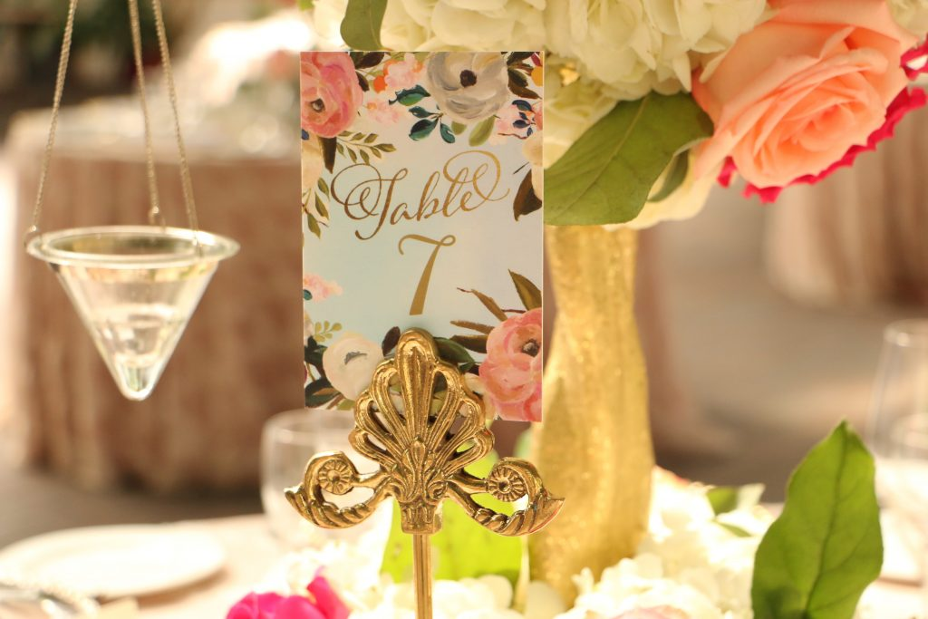 colorful wedding table number