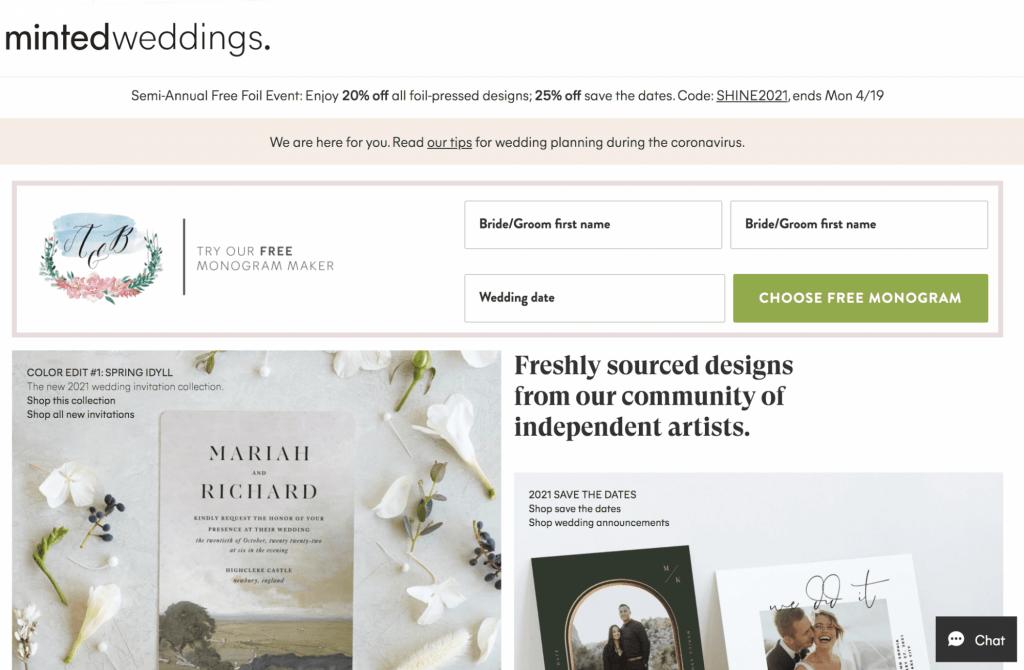 minted wedding website