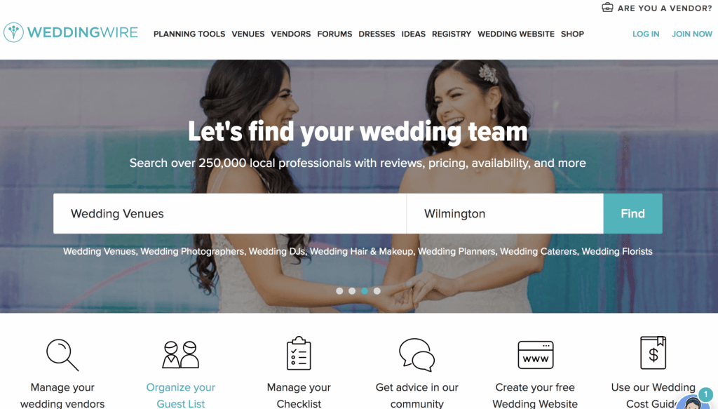 wedding wire screenshot