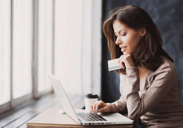 woman shopping online registry