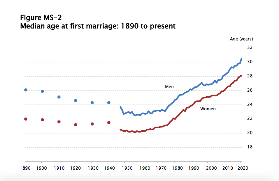 average age of marriage graph