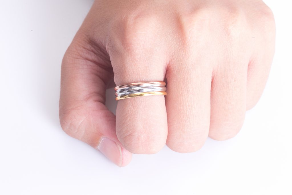 three tone metal ring