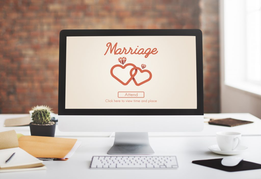 wedding website on computer