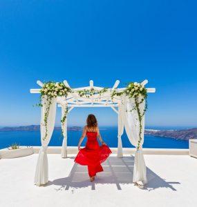 red dress at wedding