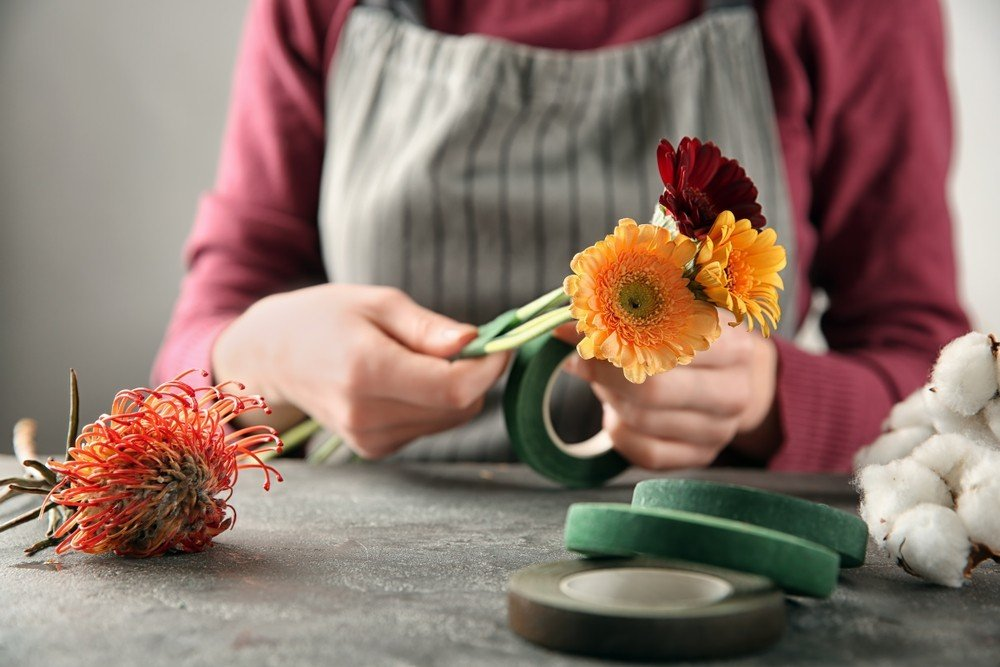 wrapping flowers with floral tape