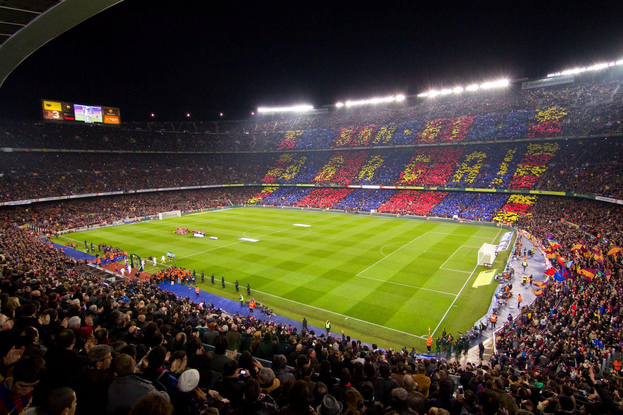 fc barcelona at camp nou soccer game