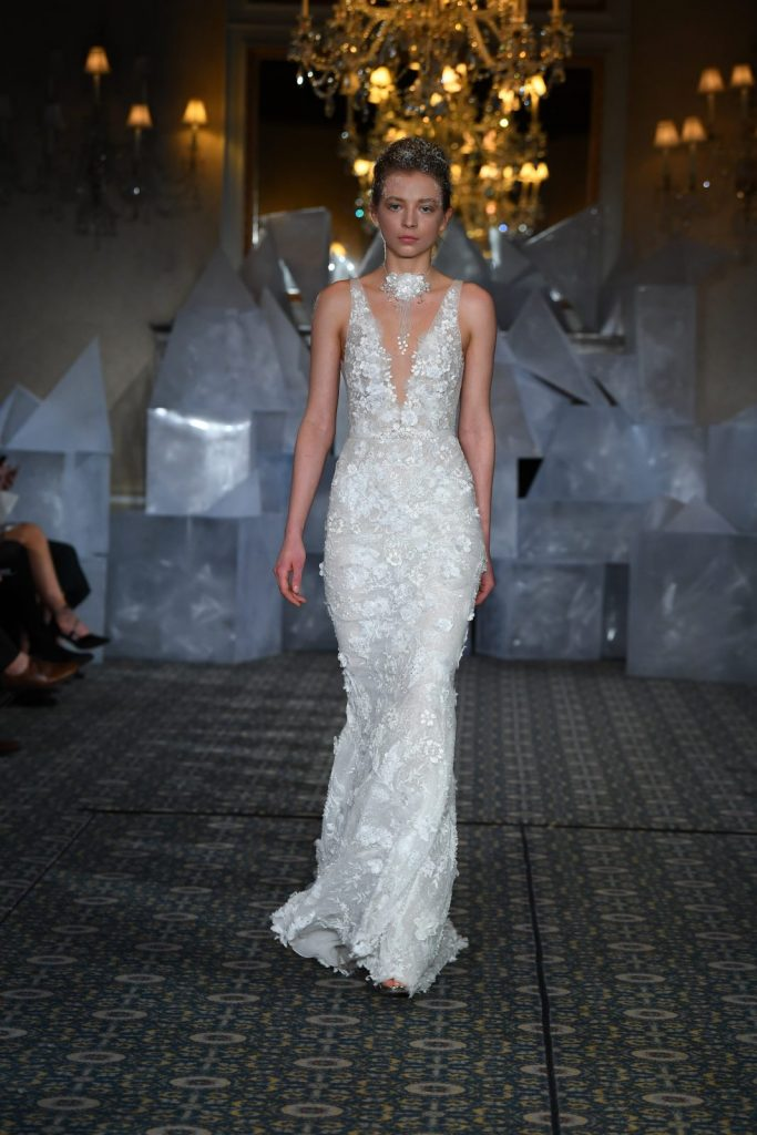 sheath wedding dress model