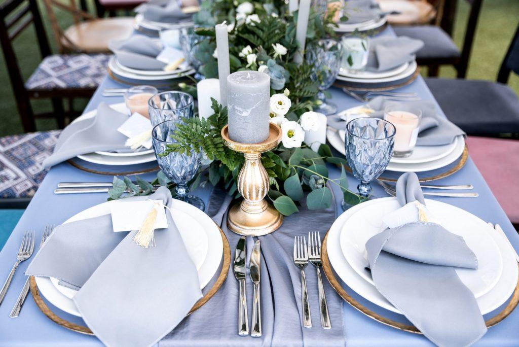 dusty blue table cloth