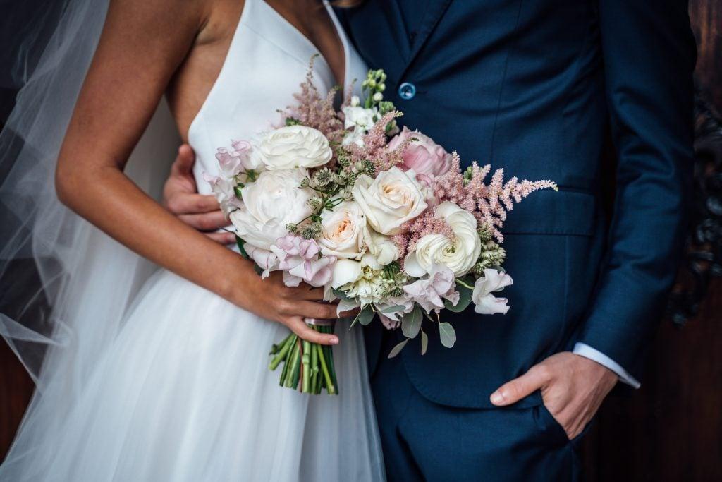 stark white wedding dress