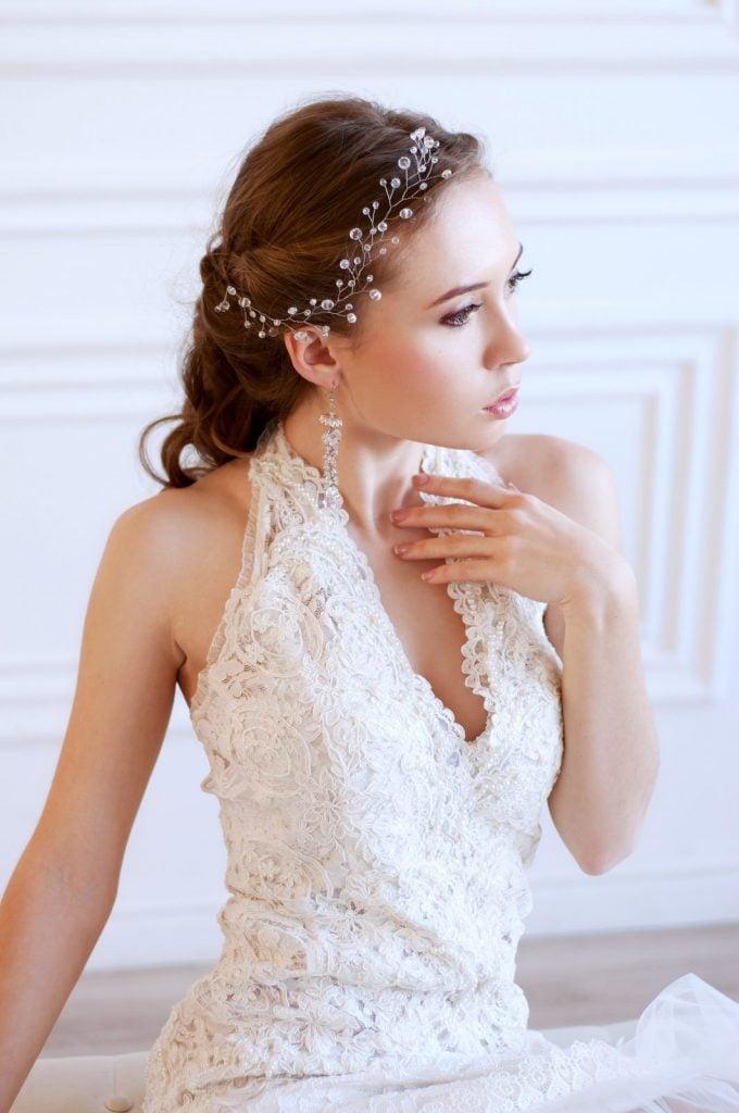 woman in halter neck wedding dress
