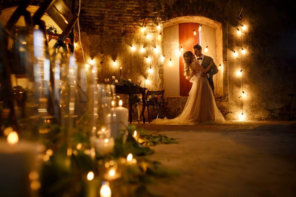 candle lit wedding