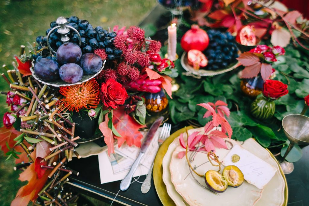 bright red table decoration