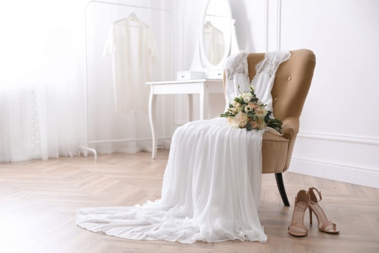 wedding dress laid out