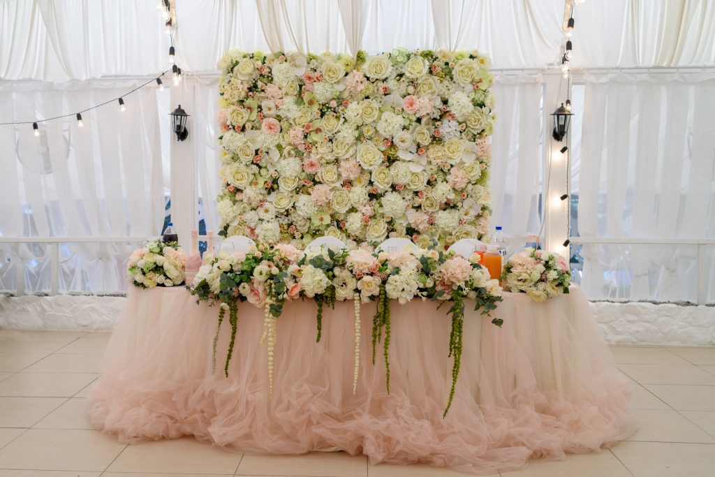 floral wedding head table