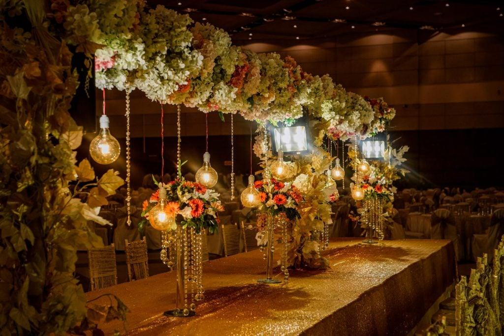 wedding head table lights