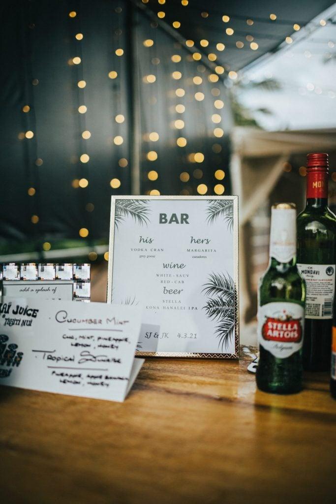 bar menu at wedding