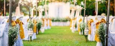 blue and yellow wedding decor