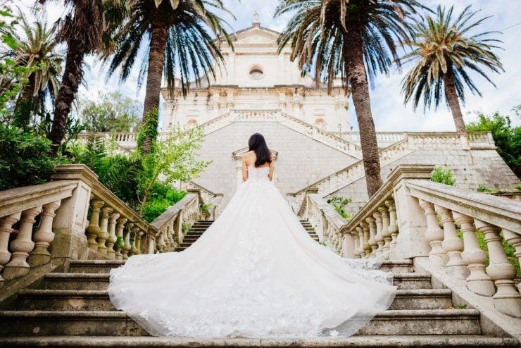 bride at castle wedding venue