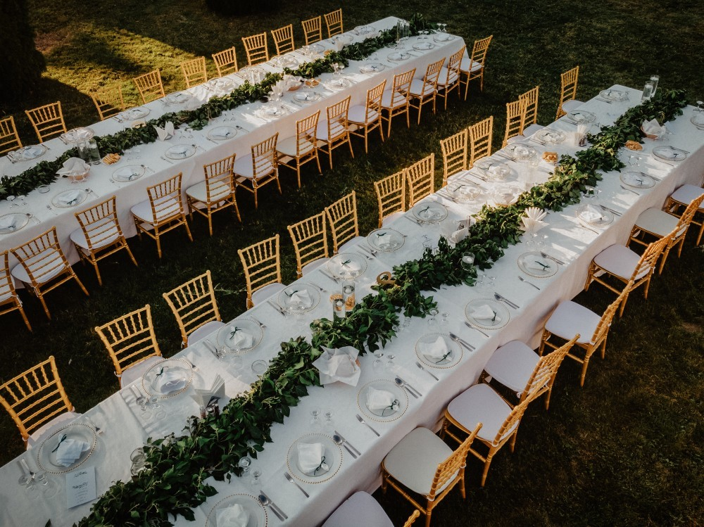 green and gold wedding reception decor